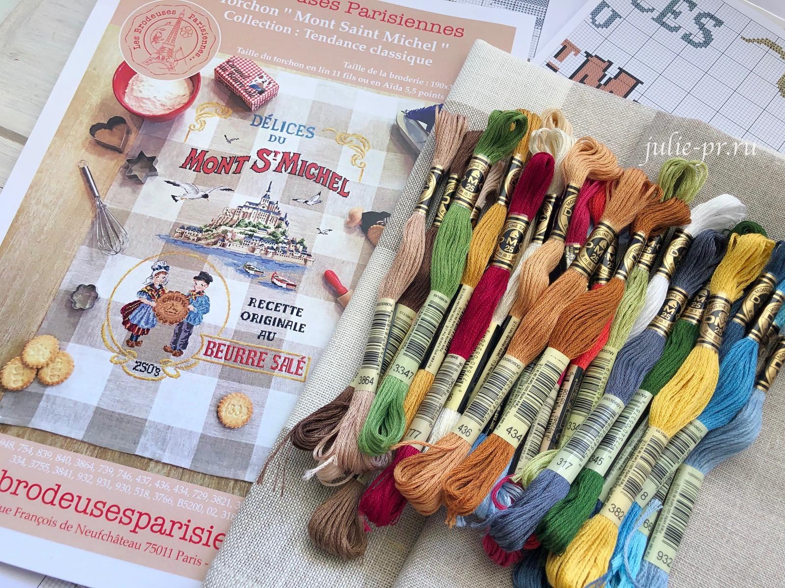 Парижские вышивальщицы, Mont Saint-Michel, Мон-Сен-Мишель, Veronique Enginger, Les brodeuses parisiennes, кухонное полотенце, вышивка крестом, мулине DMC