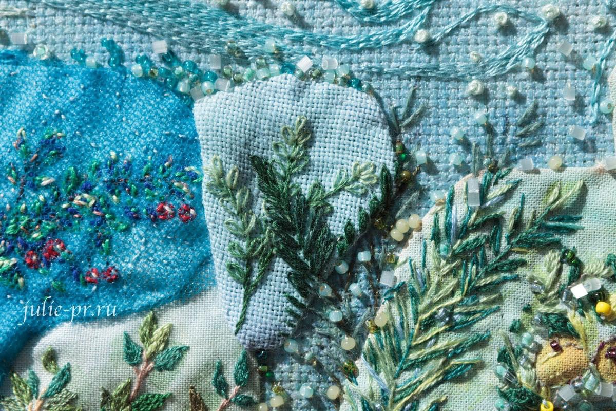 Сад Ливии, фреска, Катерина Мороз, кутюрная вышивка, совместный проект, вышивка бисером, вышивка гладью, Юлия Лапутина