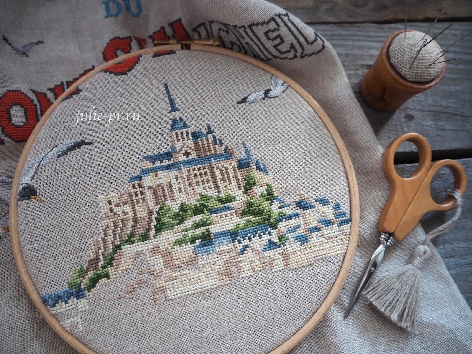 Парижские вышивальщицы, Mont Saint-Michel, Мон-Сен-Мишель, Veronique Enginger, Les brodeuses parisiennes, кухонное полотенце, вышивка крестом