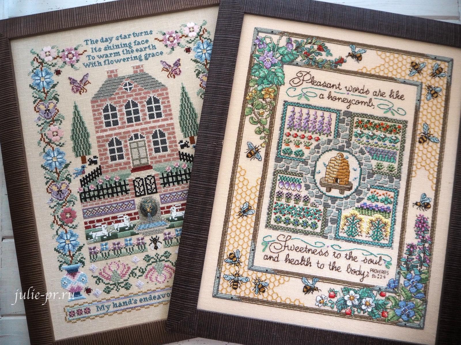 Silkwood Manor - Just Nan, Sandy Orton, Gathering honey, медовый семплер, сбор меда, поместье, вышивка крестом, вышивка шовчиками