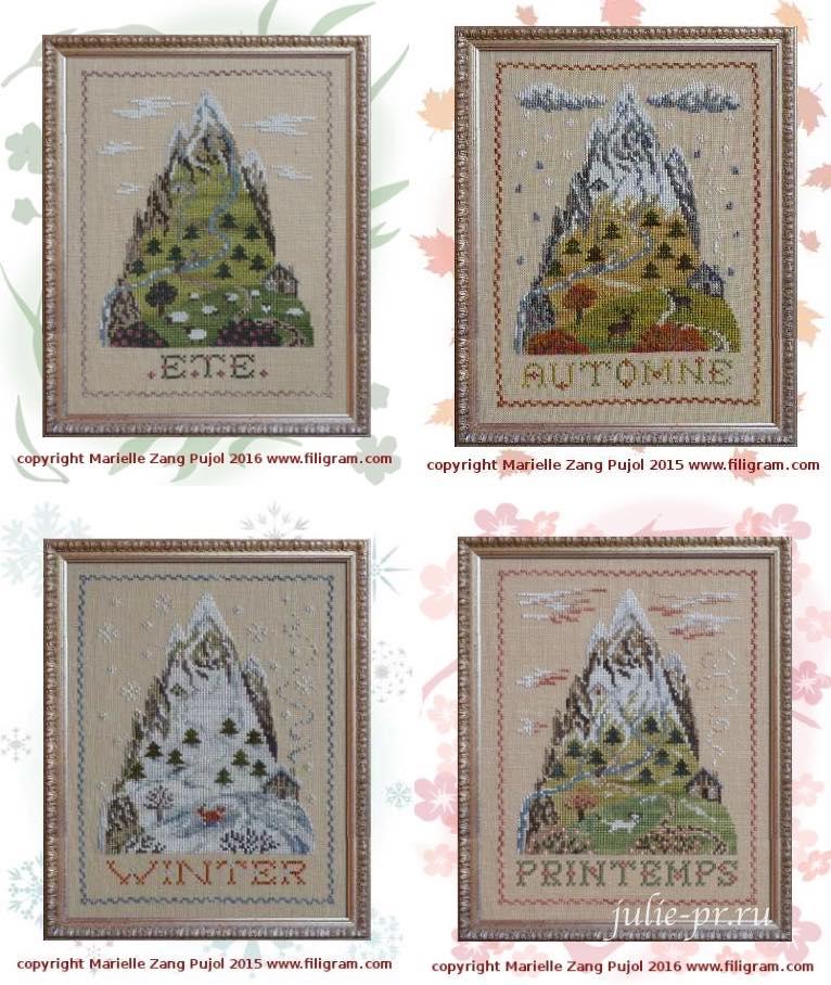 Filigram, горы, вышивка крестом, осень в горах, лето, зима, весна