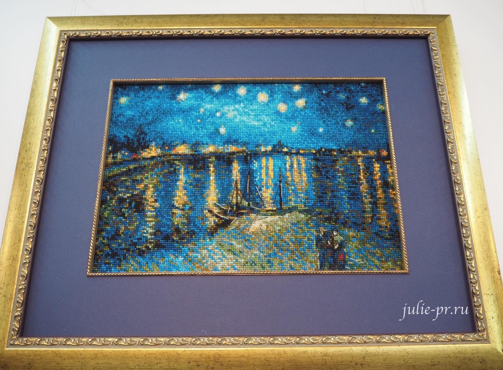 Звёздная ночь над Роной, риолис, ван гог, вышивка крестом