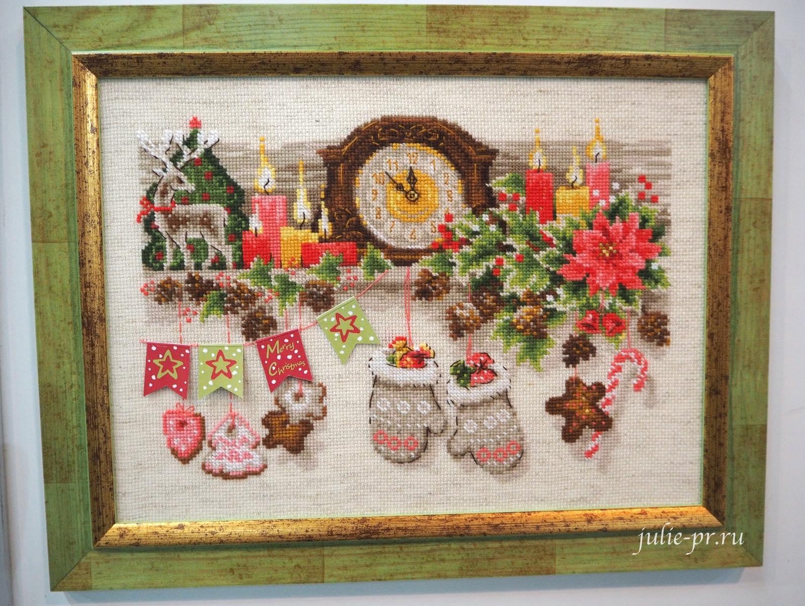 риолис, новогодняя, вышивка крестом, часы