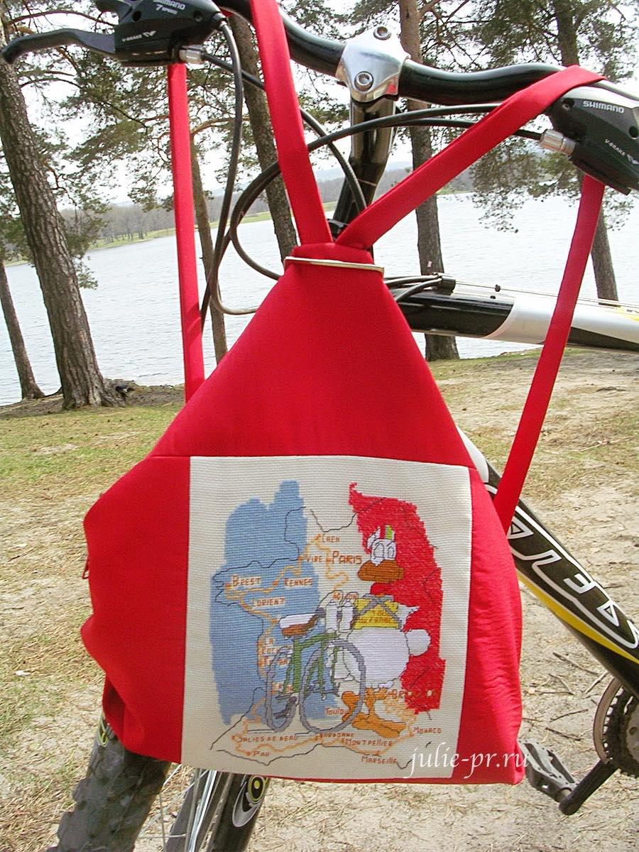 рюкзак с вышивкой, Anagram, Tour de France, французский петух, вышивка крестом, велосипед