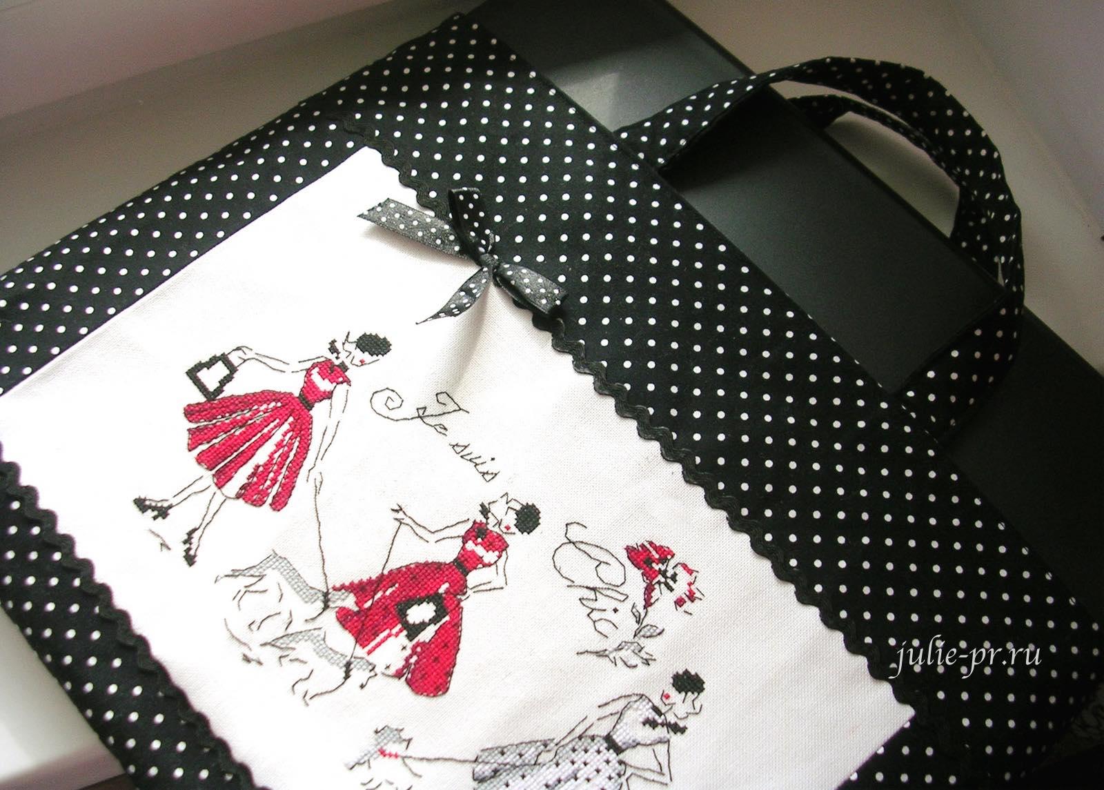 Mademoiselle en rouge, Les brodeuses parisiennes, Парижские вышивальщицы, Veronique Enginger, вышивка крестом, сумка для ноутбука с вышивкой