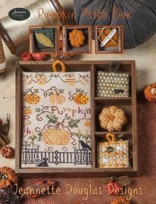 Pumpkin Patch Box - Shadow Box Set Jeannette Douglas, вышивка крестом, шэдоу бокс, тыквы, осень