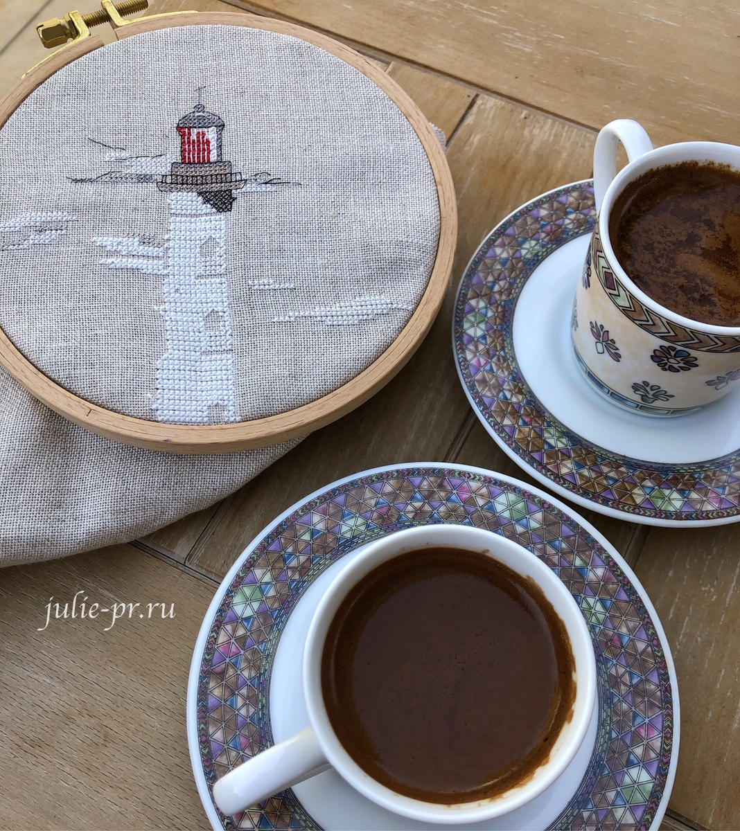 Soizic, Le Phare des Rois, Кордуанский маяк, Phare de Cordouan, вышивка крестом, кофе по-турецки, белый маяк