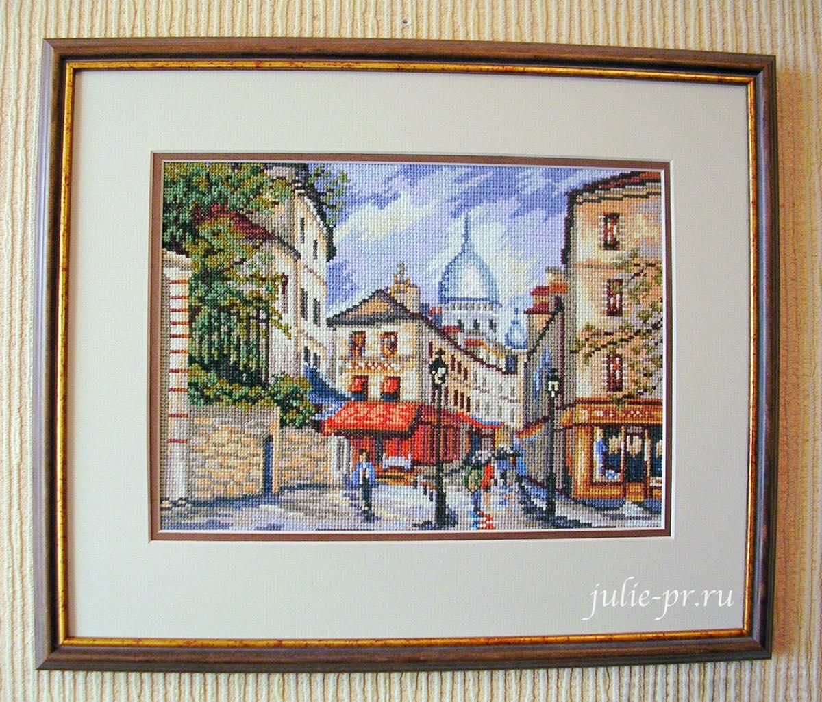 Парижская улица, Монмартр, Париж, вышивка крестом, журнал Чудесные мгновения