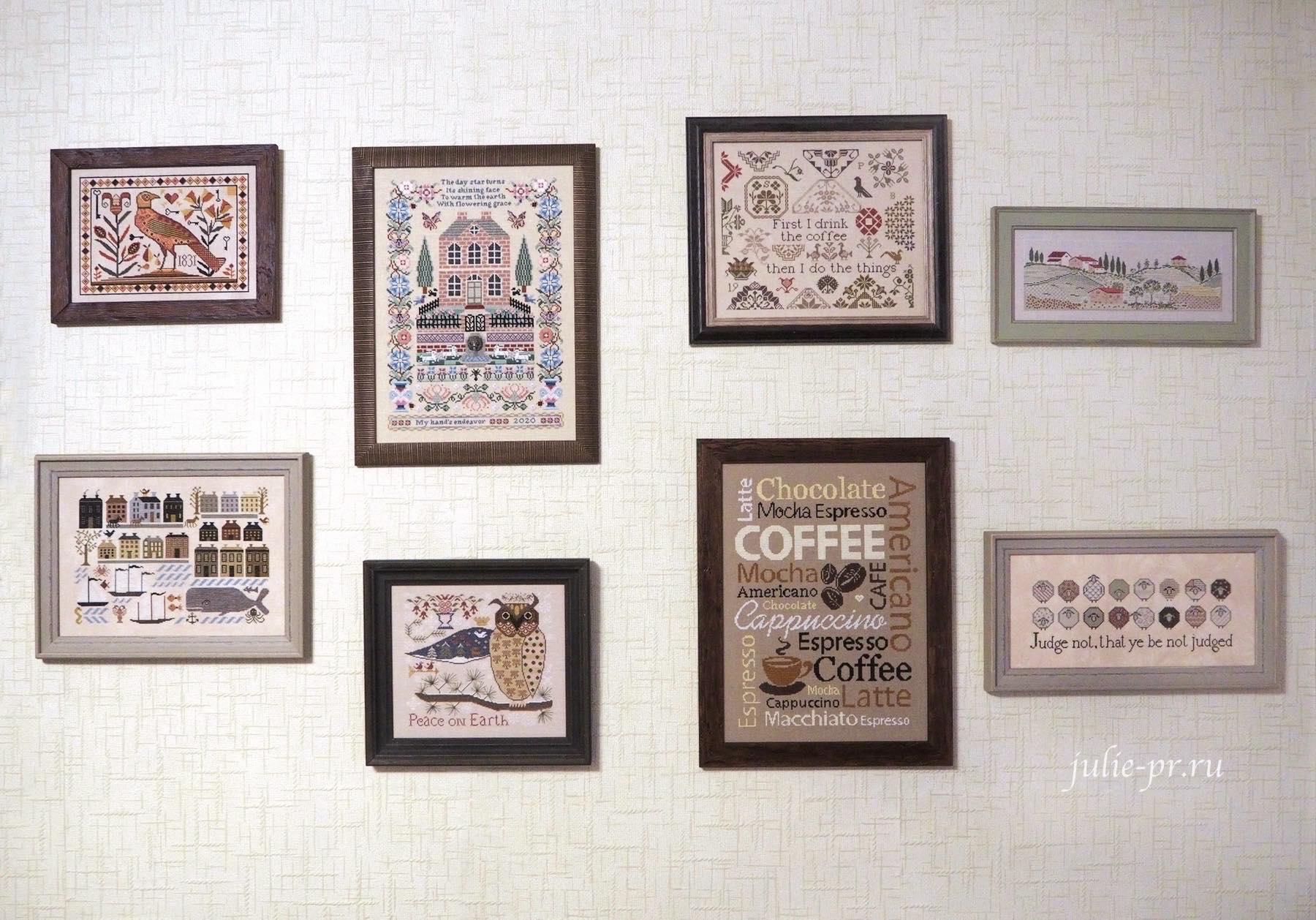 примитивы, вышивка крестом, Kathy Barrick, стена примитивов, primitive embroidery
