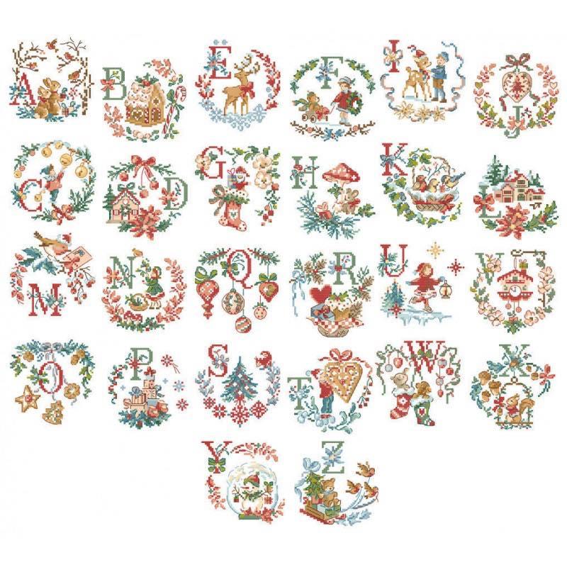 вышивка крестом, Le grand ABC de Noel, Большой рождественский алфавит, Парижские вышивальщицы, Les brodeuses parisiennes, Veronique Enginger, схемы