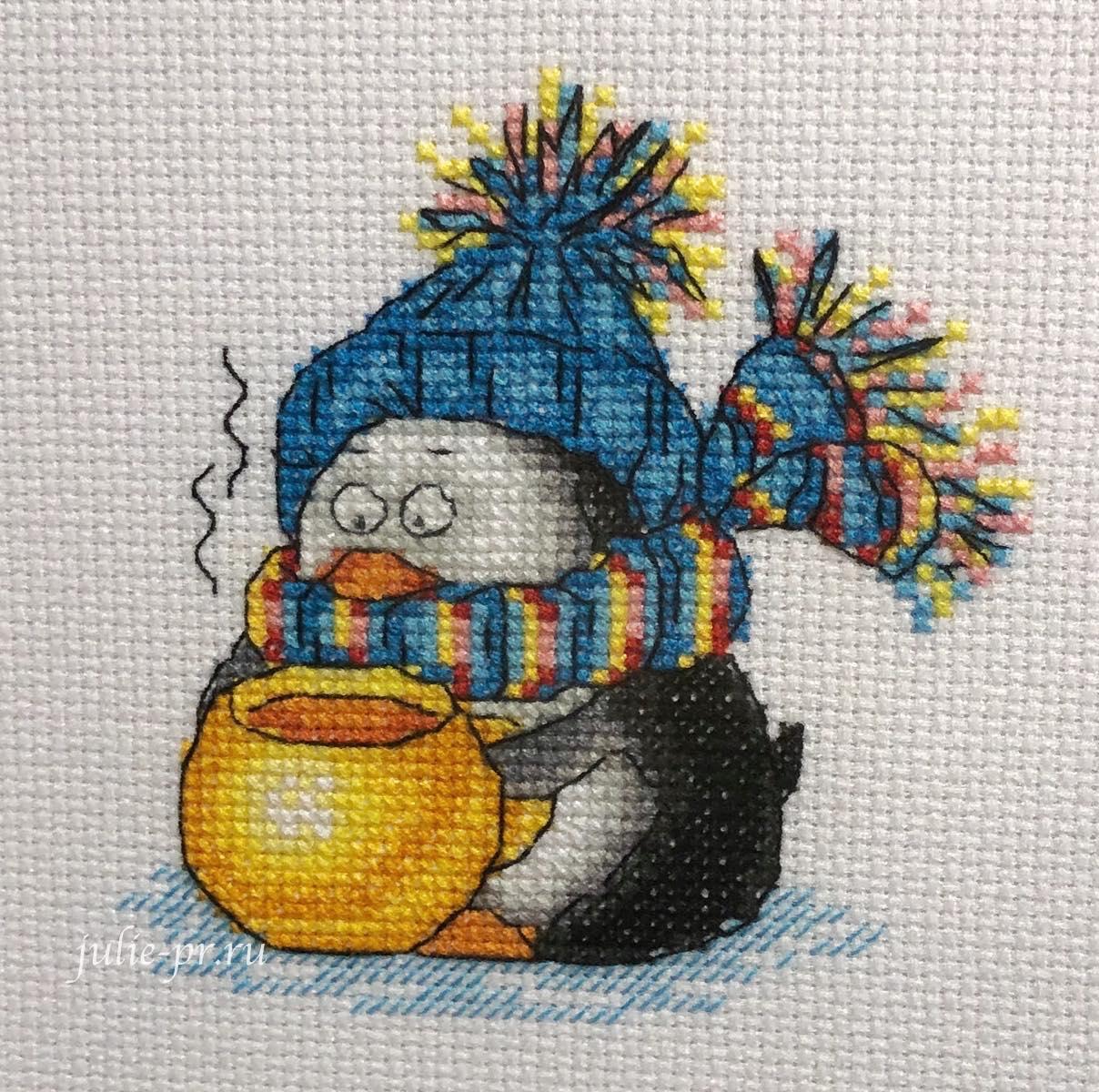 Кларт, Зимнее чаепитие, пингвин, чай, вышивка крестом, формула рукоделия зима 2020