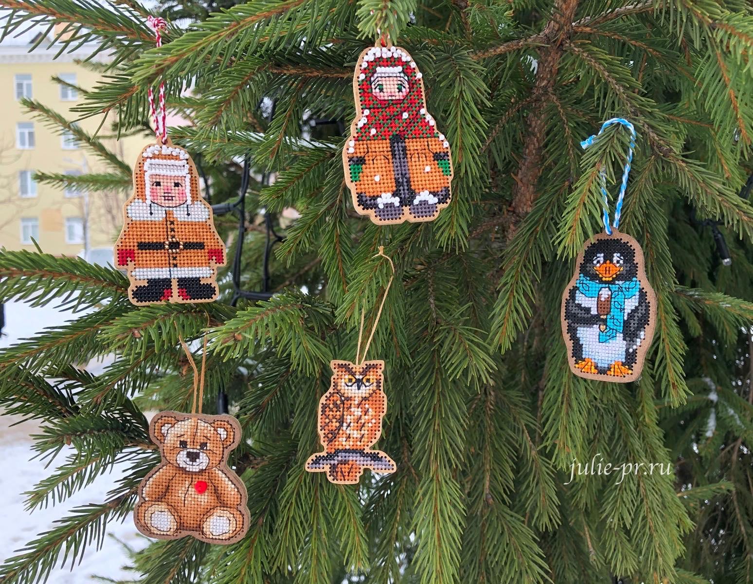 дивная вишня, вышивка крестом, пингвин, сова, советские малыши, мишка, вышивка на дереве, деревянной основе, новогодняя игрушка