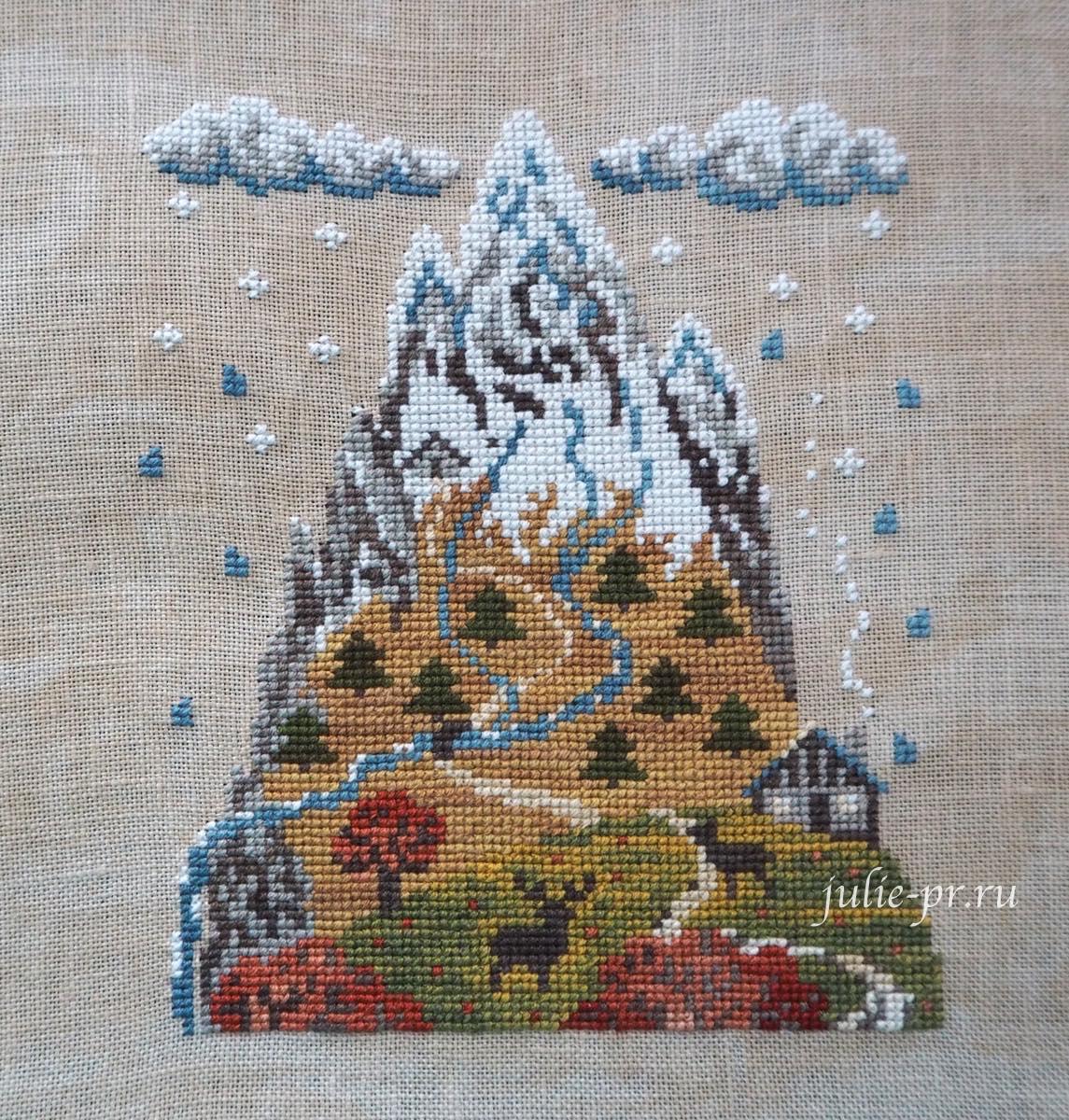 Filigram, вышивка крестом, осень в горах, Autumn Mountain, Montagne d'automne, нитки ручного окрашивания The Gentle Art, Simply Shaker Sampler Threads, осенние горы