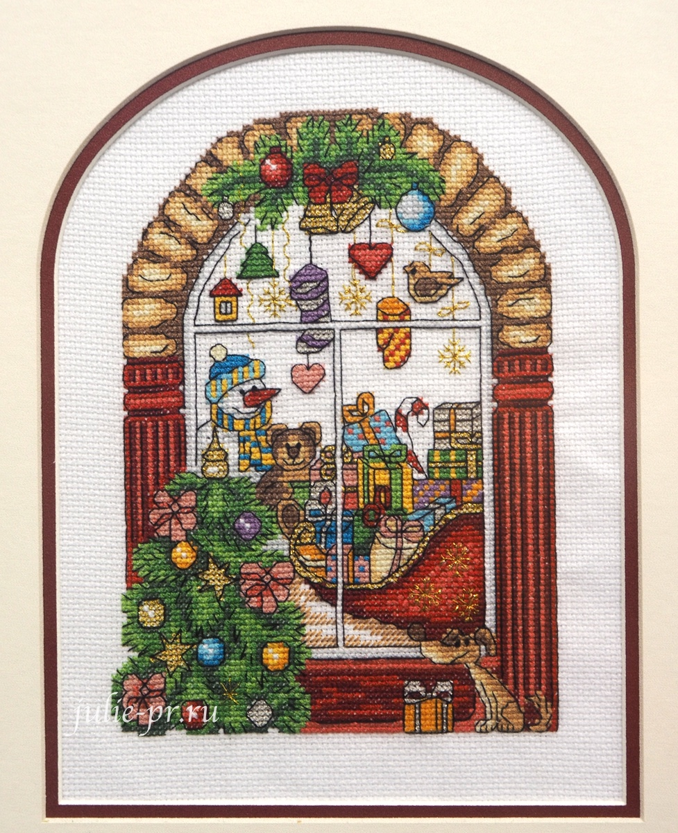 кларт, Новогодняя витрина, новогоднее окно, вышивка крестом, формула рукоделия зима 2020