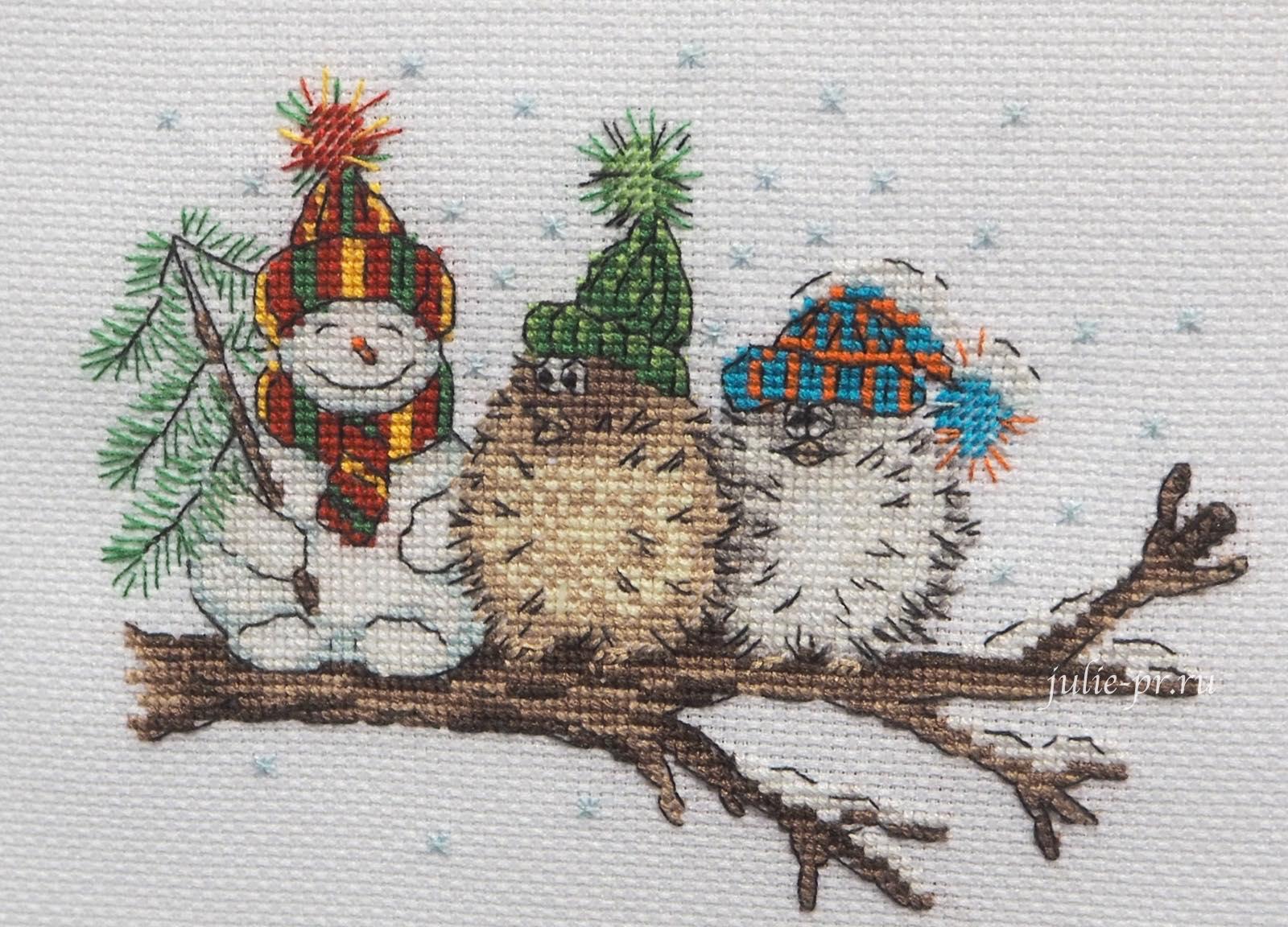 снеговик, сова, кларт, В кругу друзей, вышивка крестом, формула рукоделия зима 2020