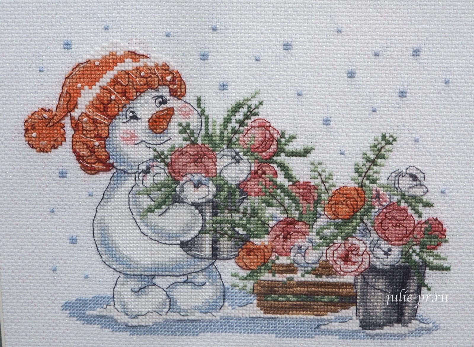 Кларт, снеговик с розами, Зима в розовом цвете, вышивка крестом, формула рукоделия зима 2020