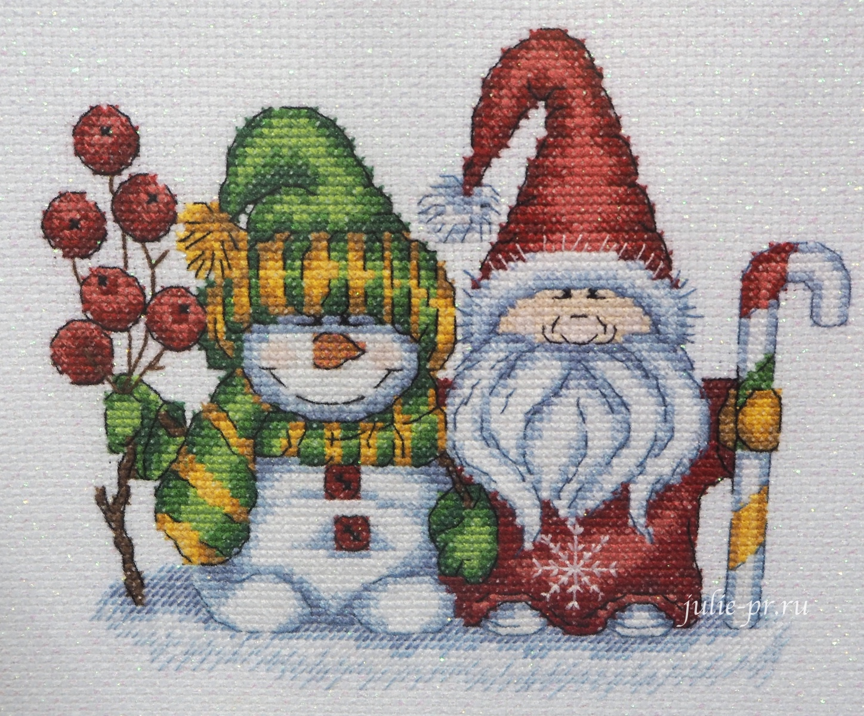 снеговик, дед мороз, Кларт, Зимний приветик, вышивка крестом, формула рукоделия зима 2020