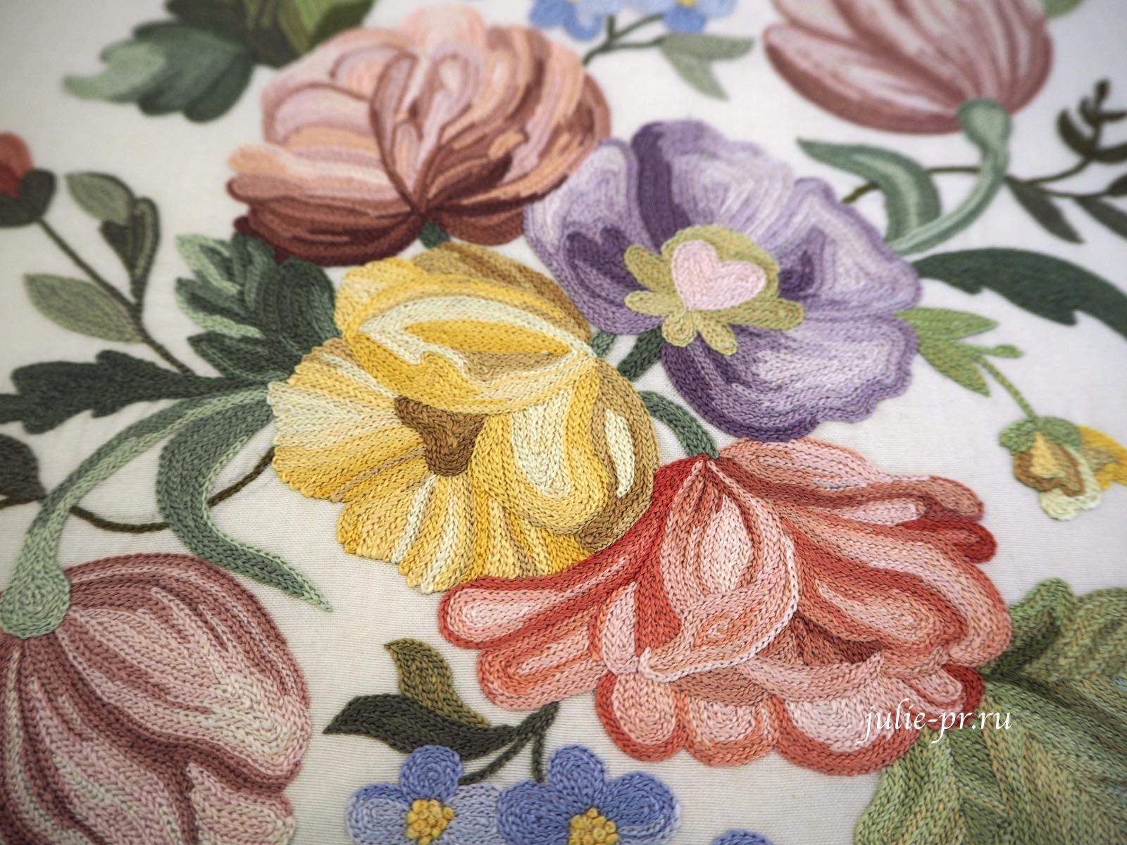 Всероссийская выставка вышивки, вышивка гладью, тамбурный шов, подушка