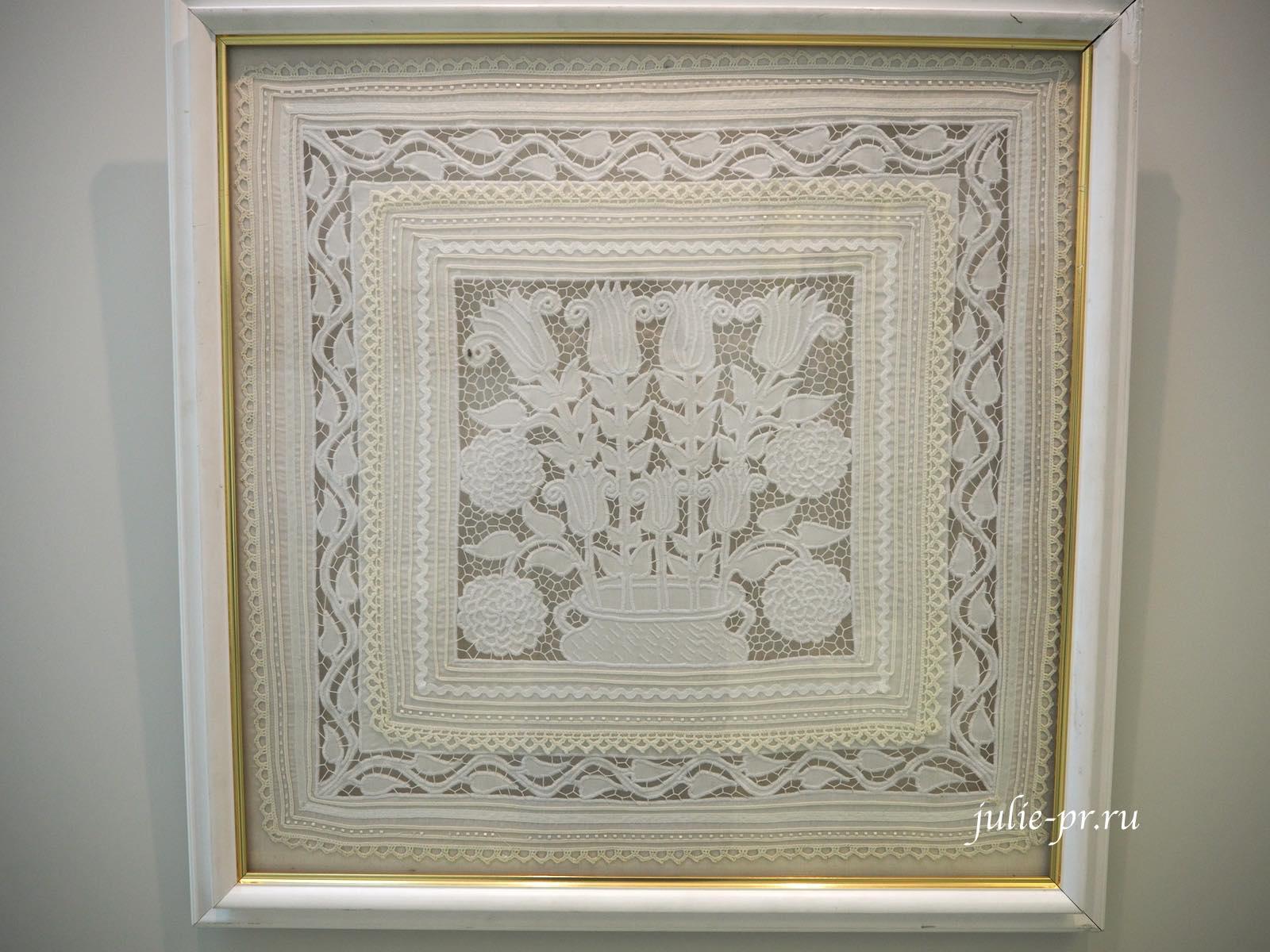 Всероссийская выставка вышивки, вышивка гладью, ришелье, белый букет