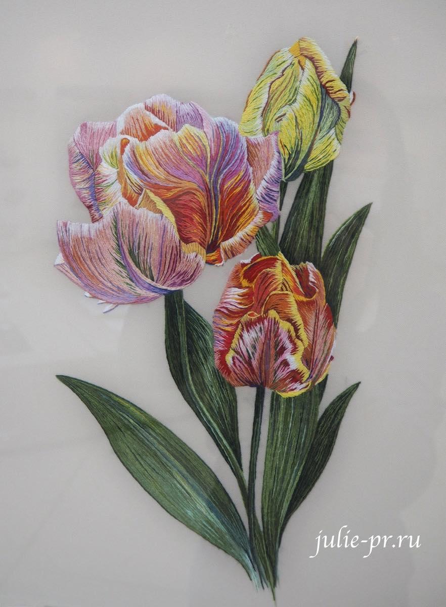 Всероссийская выставка вышивки, вышивка художественной гладью, тюльпаны