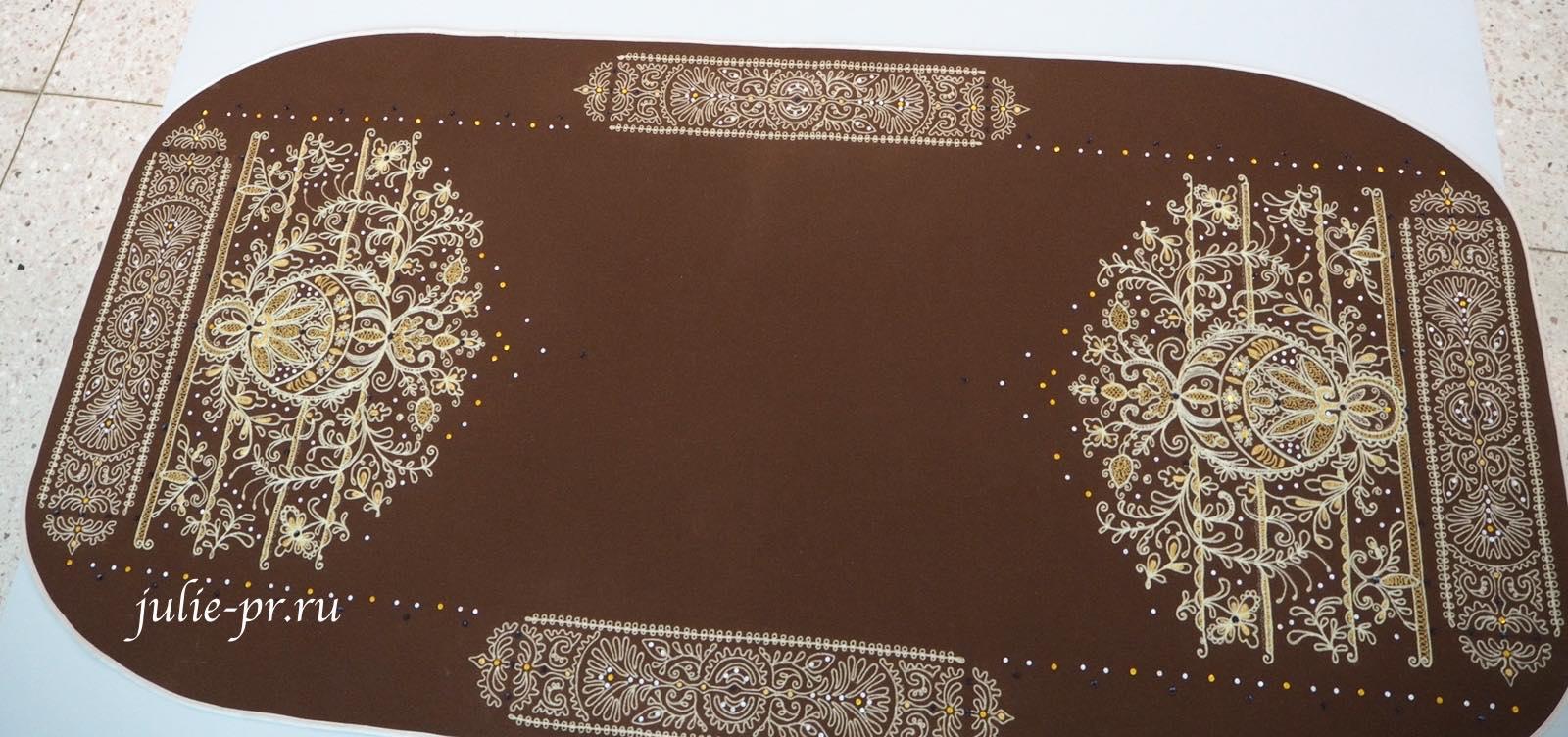 Всероссийская выставка вышивки, вышивка, Декоративный столешник, Златое древо к щедрому столу, золотное орнаментальное шитьё