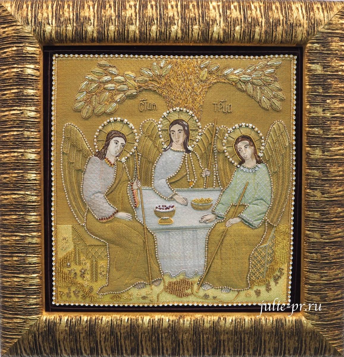 Всероссийская выставка вышивки, вышивка, икона Троица, золотное шитье