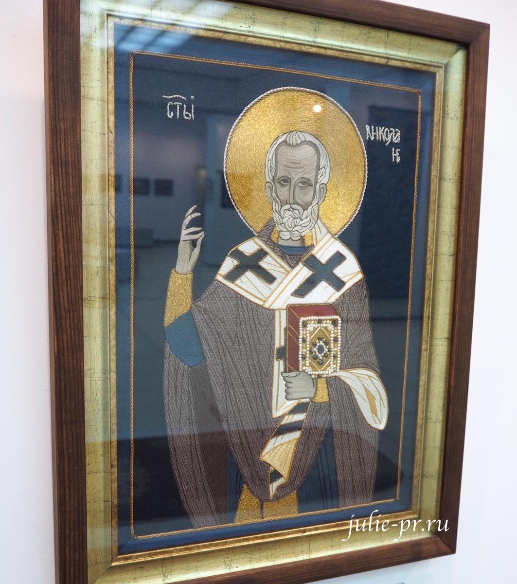 Всероссийская выставка вышивки, вышивка, икона Святой Николай, лицевое шитье
