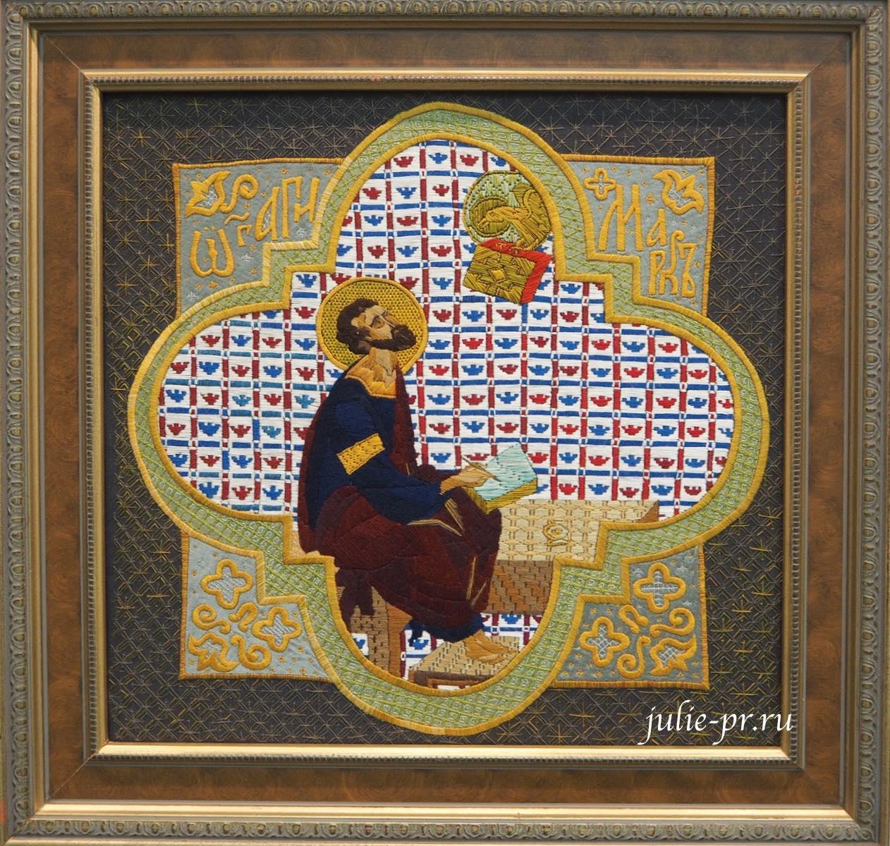 Всероссийская выставка вышивки, вышивка, Евангелист Марк, лицевое шитье