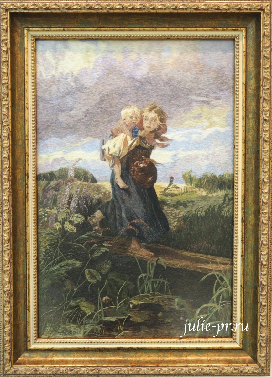 Всероссийская выставка вышивки, вышивка гладью, Дети, бегущие от грозы, по картине Маковского