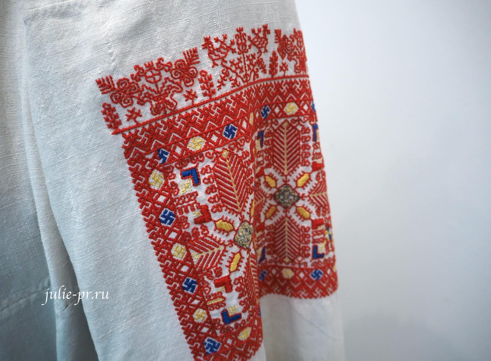 Всероссийская выставка вышивки, вышивка, Студия традиционного костюма «Русские начала» — Женская праздничная рубаха, Каргопольский уезд, шов набор, роспись