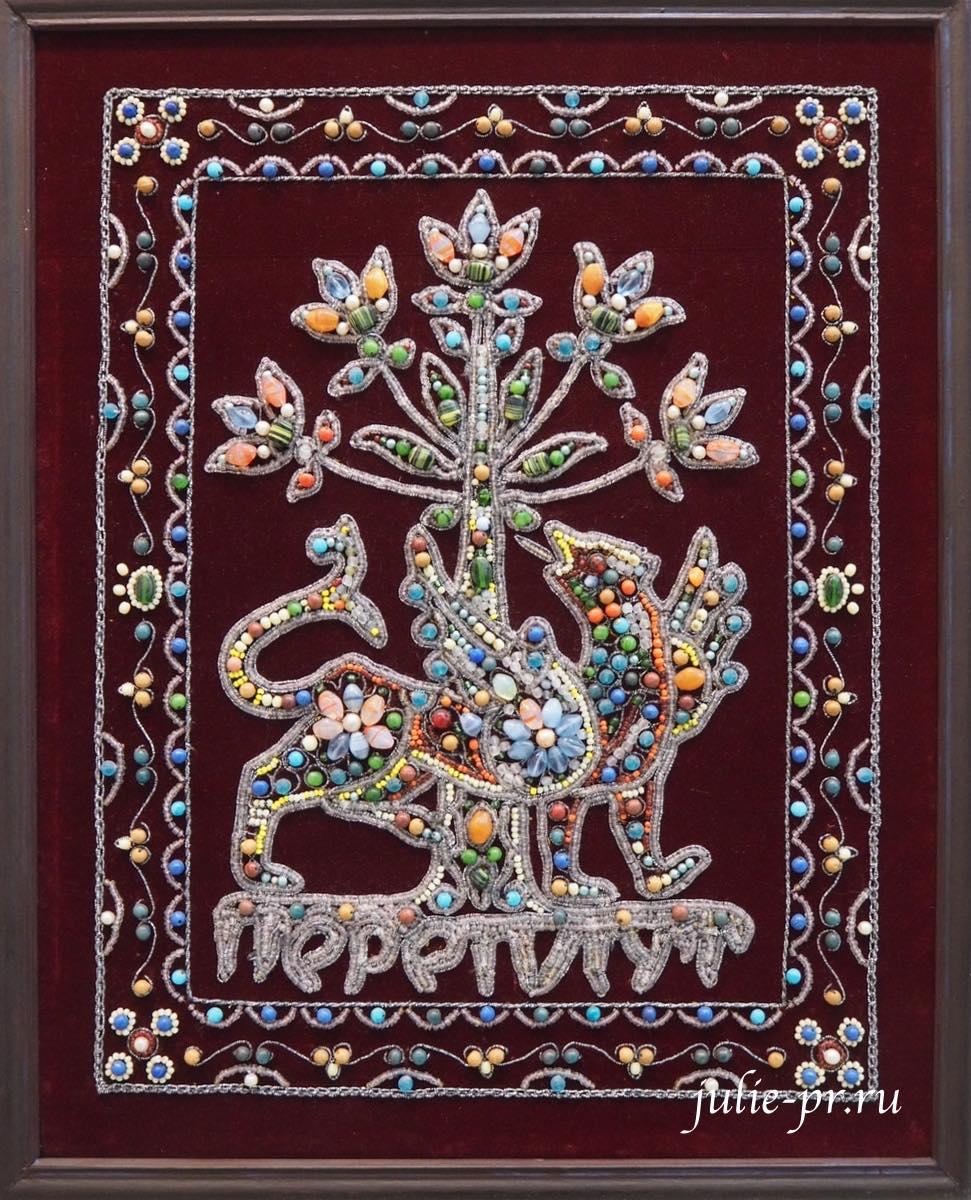Всероссийская выставка вышивки, Древнеславянский бог корней Переплут, вышивка бисером, бусинами