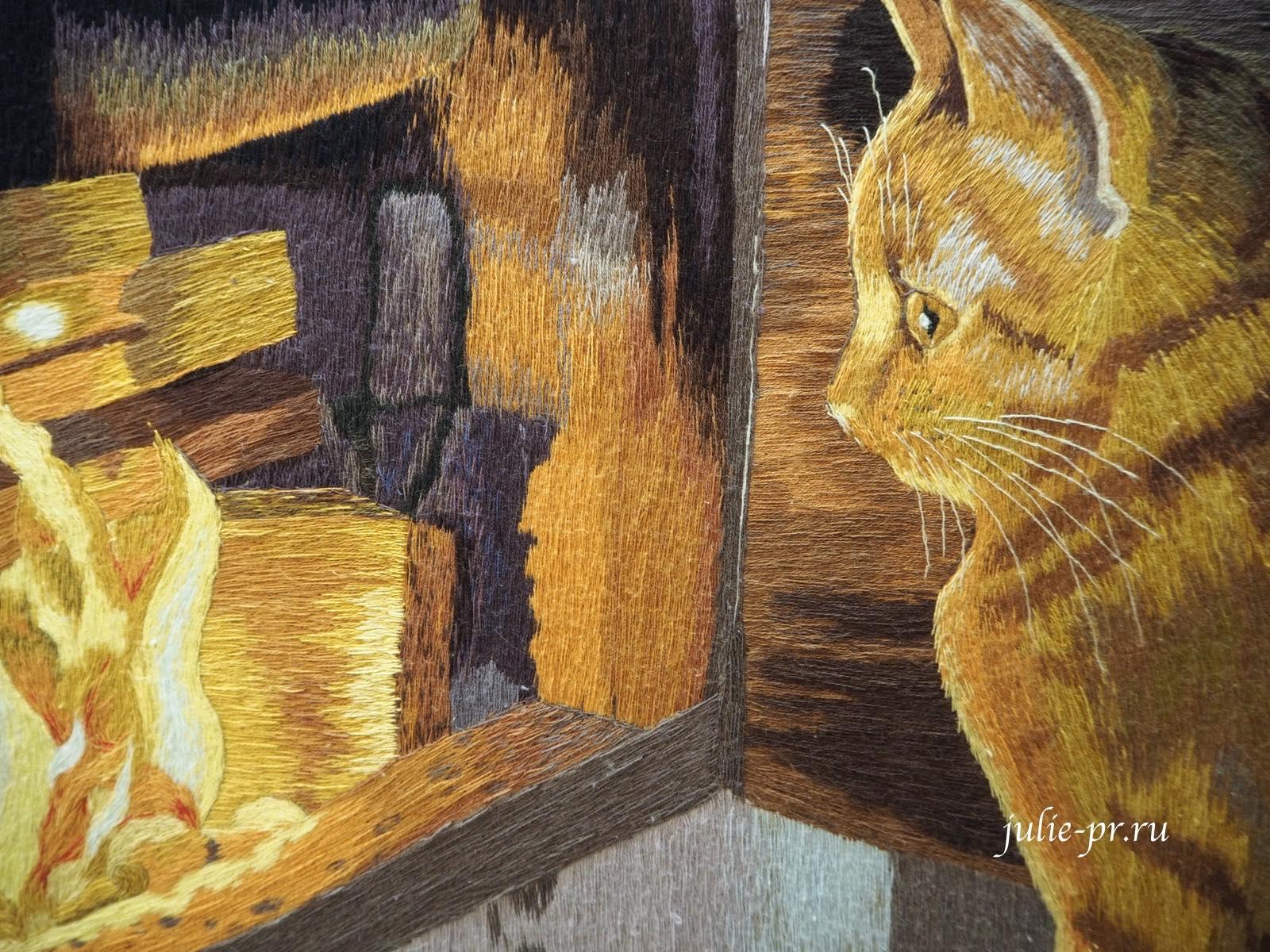 Всероссийская выставка вышивки, вышивка гладью, кот у печки
