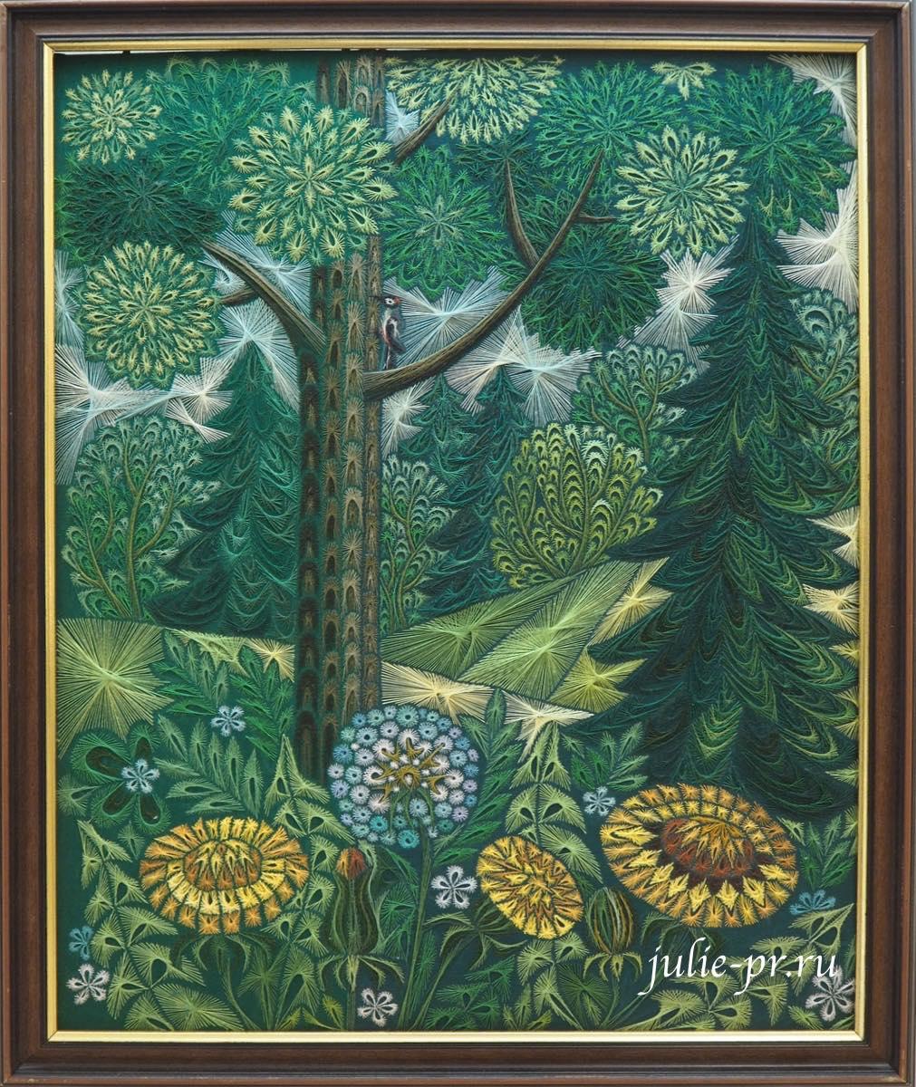 Всероссийская выставка вышивки, Уголок леса, хордовая вышивка