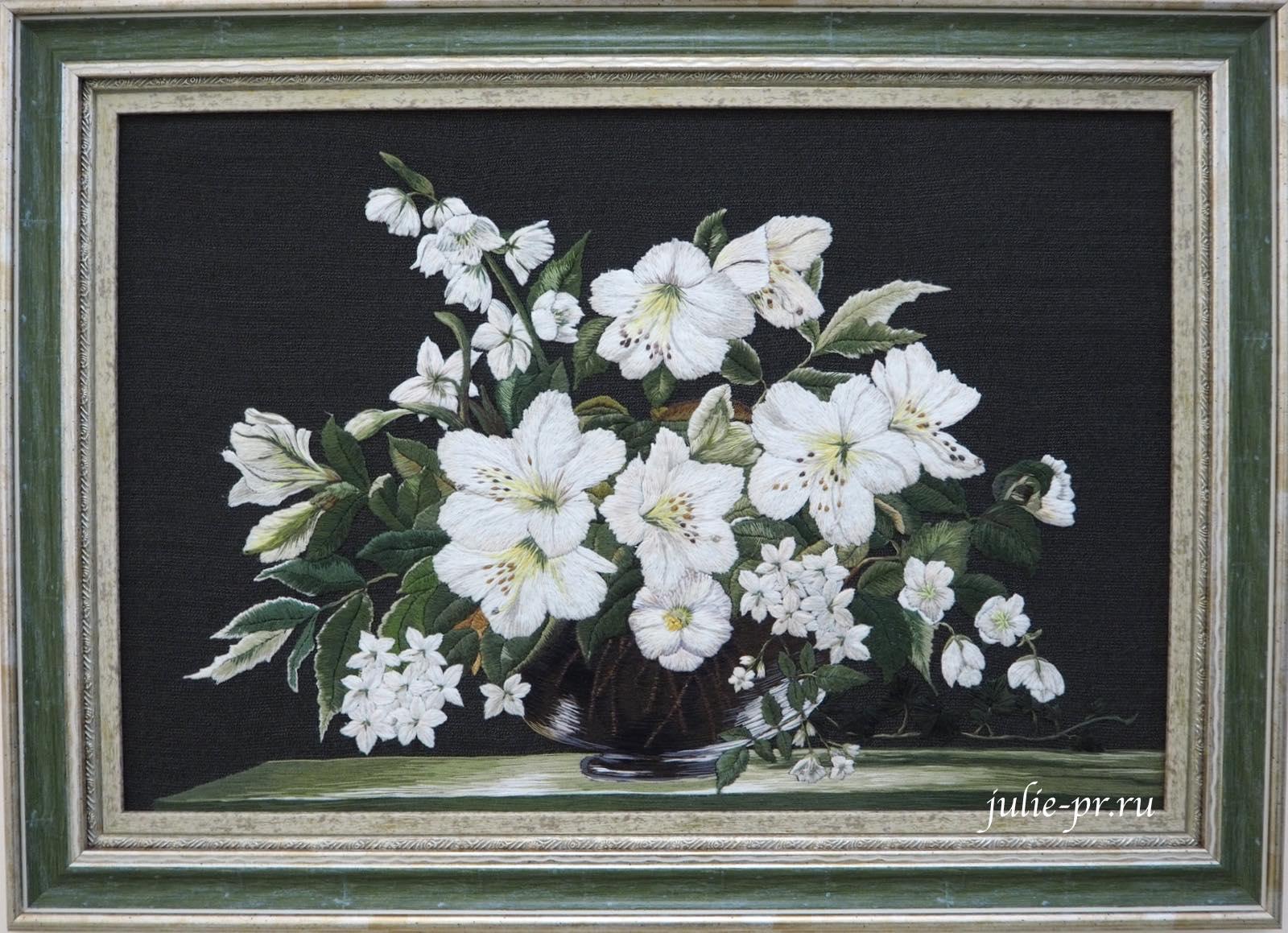 Всероссийская выставка вышивки, вышивка гладью, Белые цветы