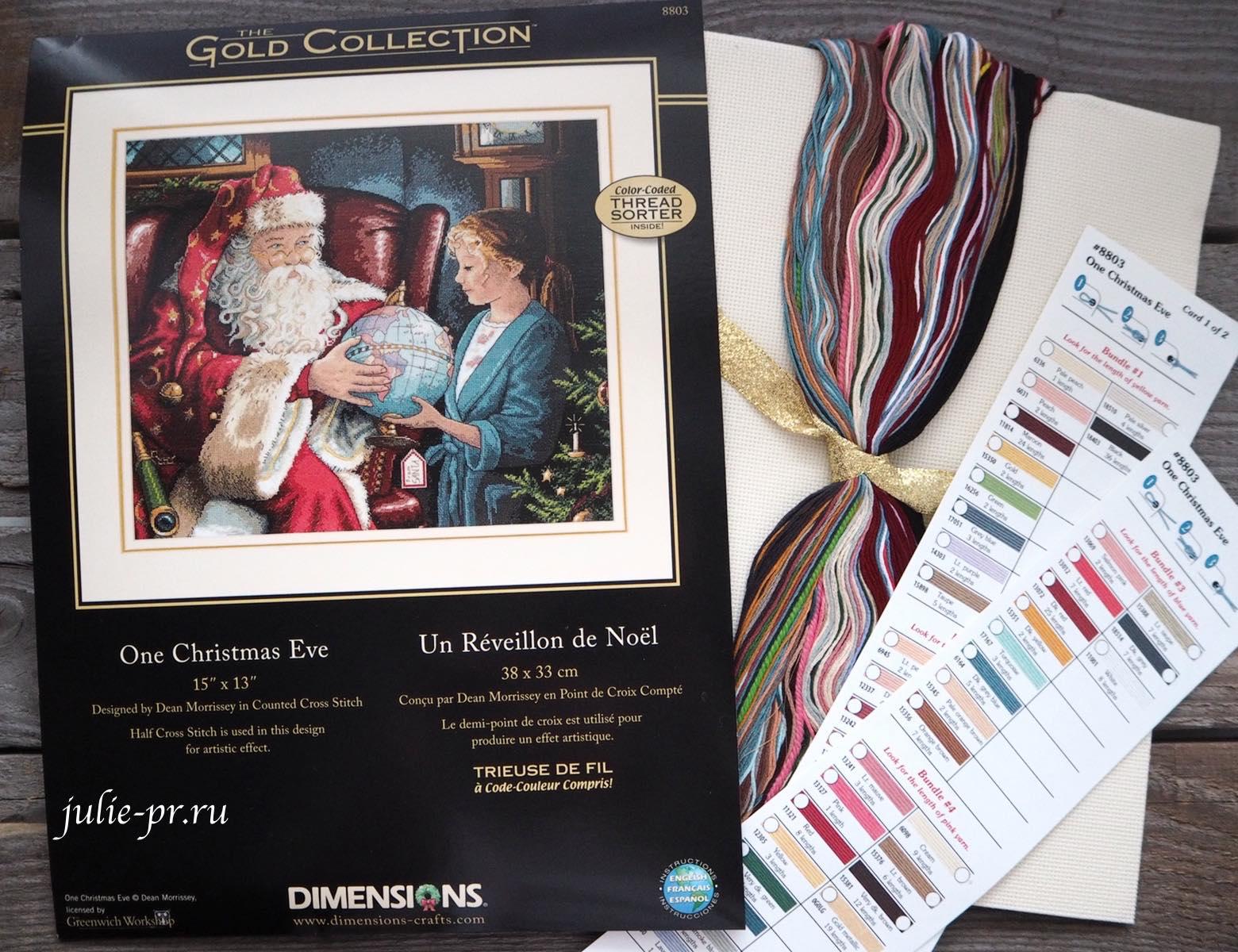 Dimensions 8803, One Christmas Eve, вышивка крестом, в канун рождества, Санта с глобусом, раритетный набор, в сочельник, перевыпуск