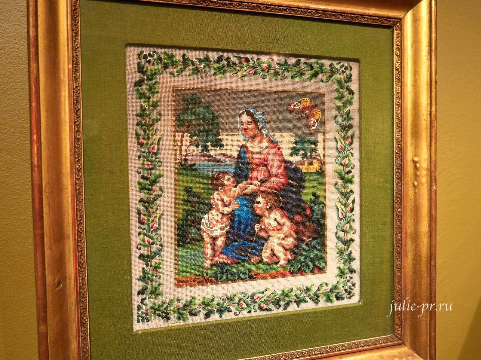 Прекрасная садовница по картине Рафаэля, вышивка венецианским бисером по канве, выставка Старинные вышивки
