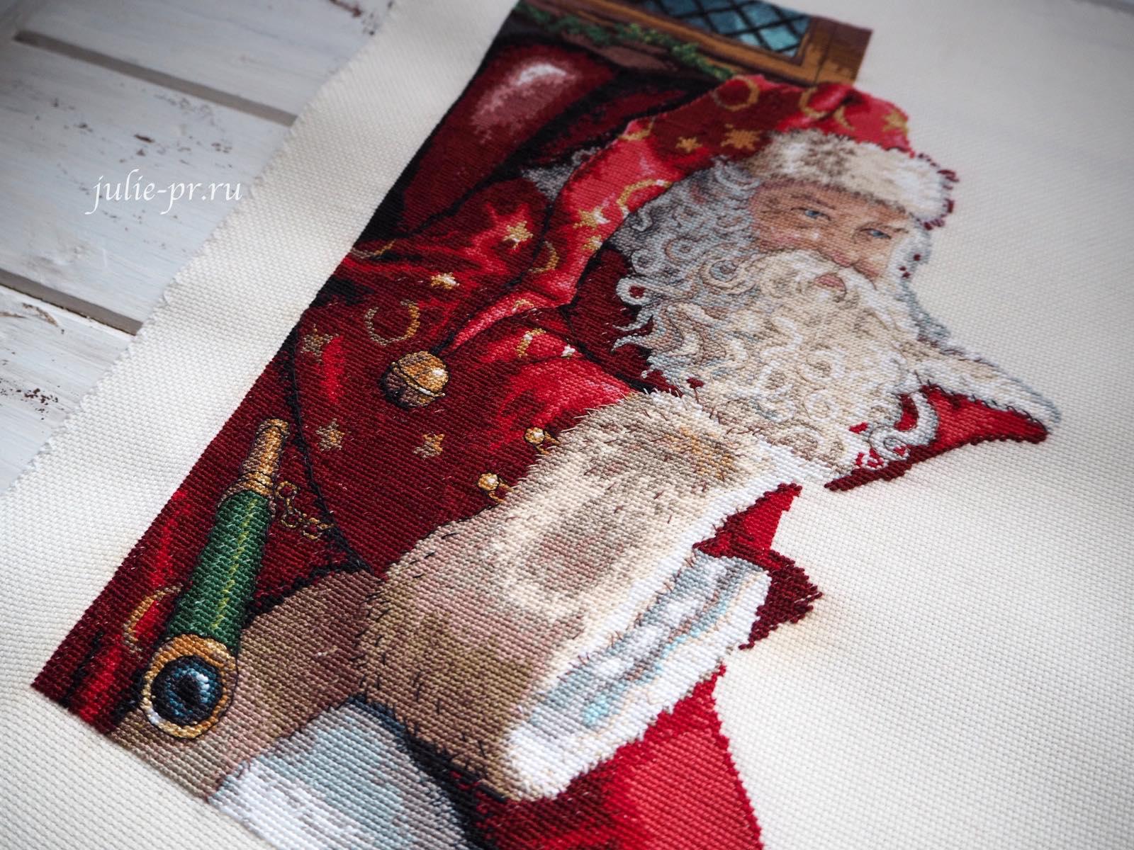 Dimensions 8803, One Christmas Eve, вышивка крестом, в канун рождества, Санта с глобусом, раритетный набор, в сочельник