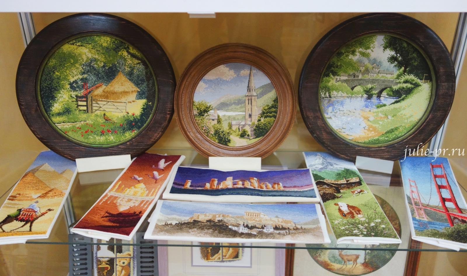 Lakeside village, круги Клейтона, панорама, интернациональная серия, международная коллекция, вышивка крестом, Heritage, John Clayton, выставка Грани Джона Клейтона