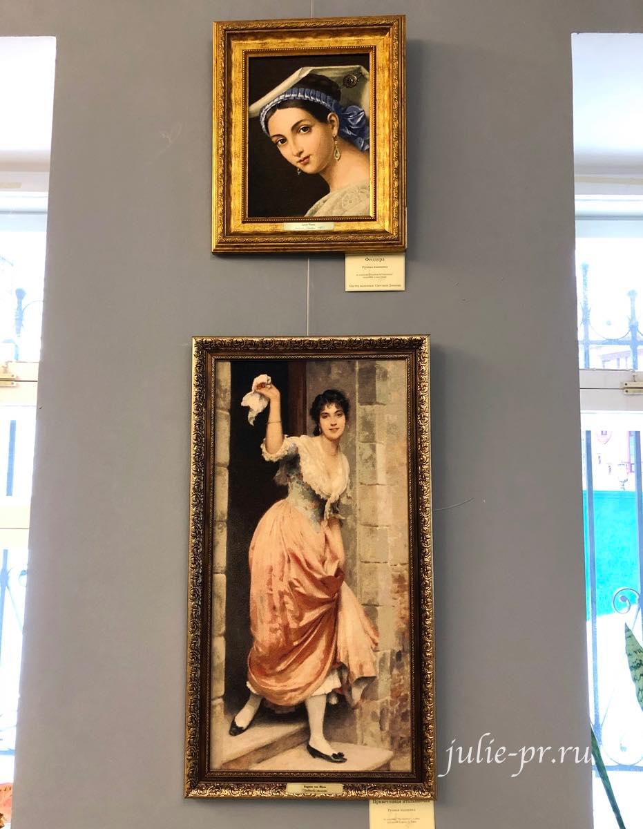 Феодора, Приветливая итальянка, вышивка крестом, многоцветка, прогон