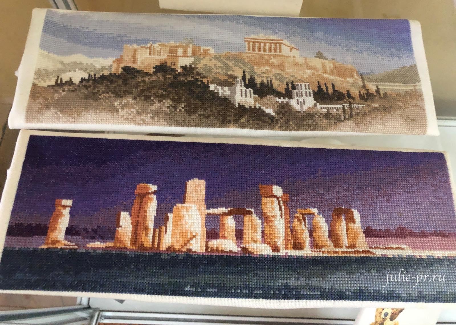 Акрополь, Стоунхедж^ Panoramas, вышивка крестом, Heritage, John Clayton, выставка Грани Джона Клейтона