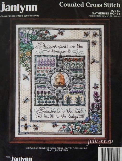 Набор Janlynn, 09-52 Gathering honey, Sandy Orton, Сенди Ортон, вышивка крестом, медовый семплер, сбор меда