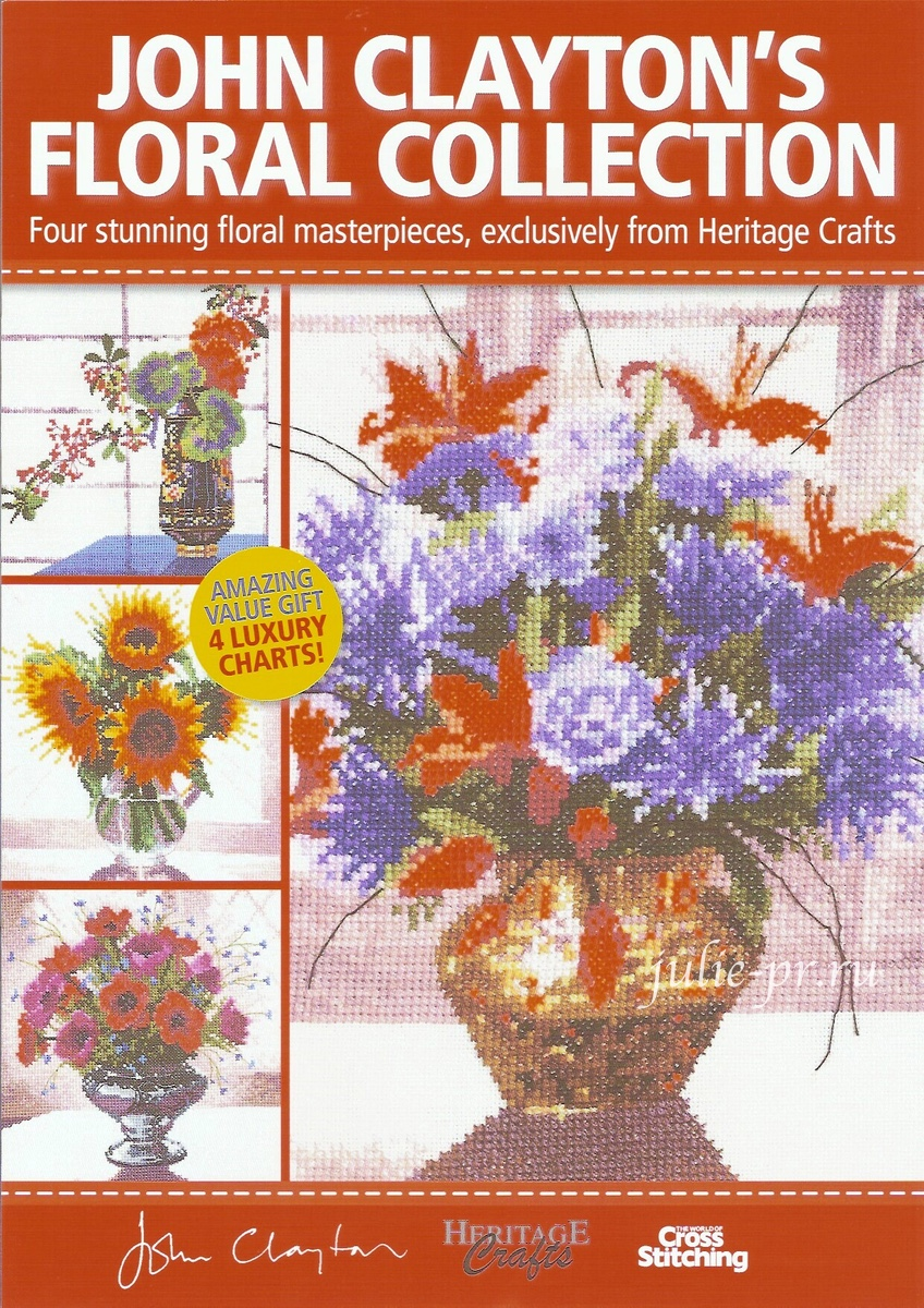 John Clayton's Floral Collection, The world of cross stitching, вышивка крестом, Джон Клейтон, цветы