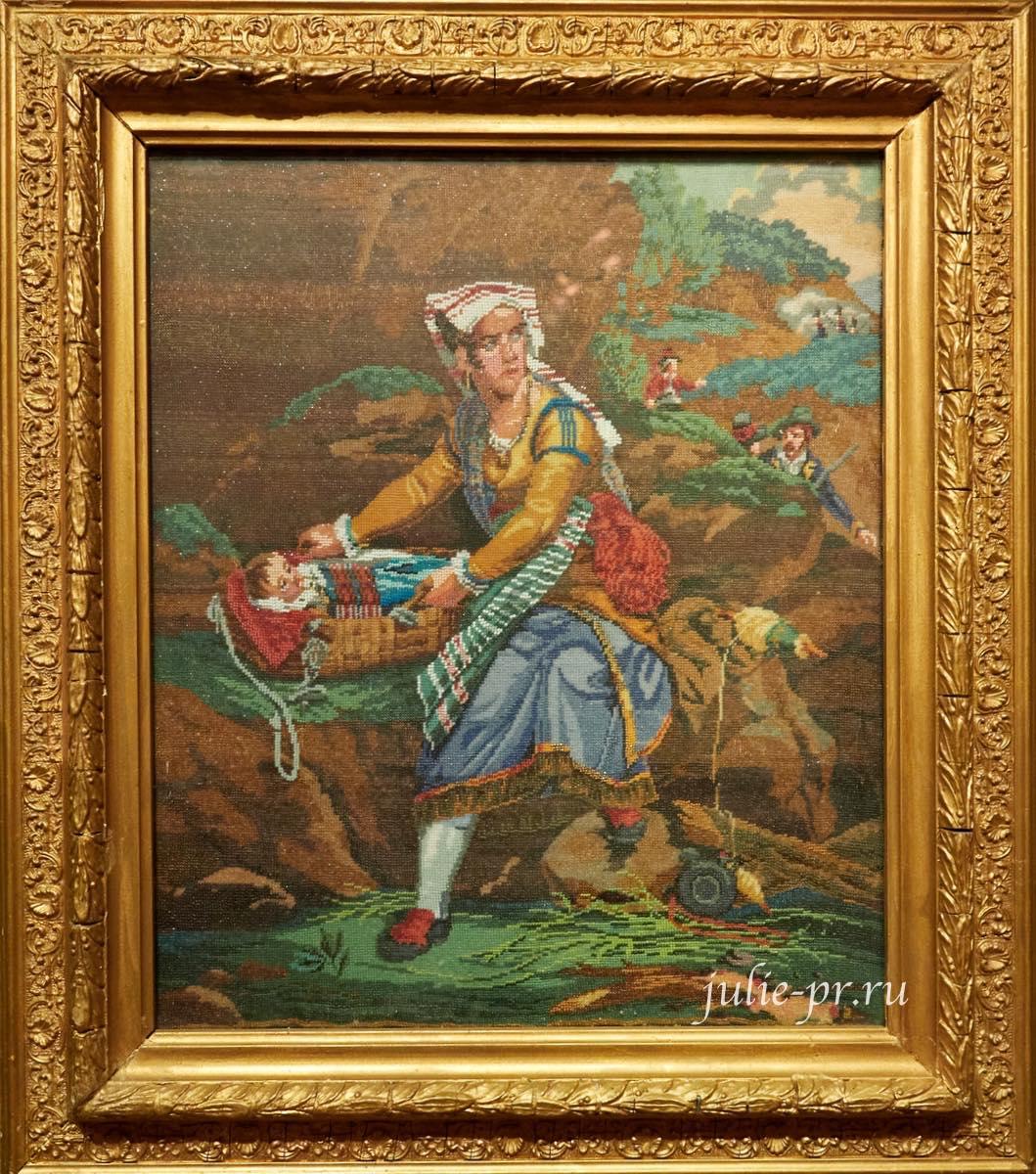 Жена итальянского разбойника, 3-я четверть XIX века, вышивка бисером, выставка Старинные вышивки