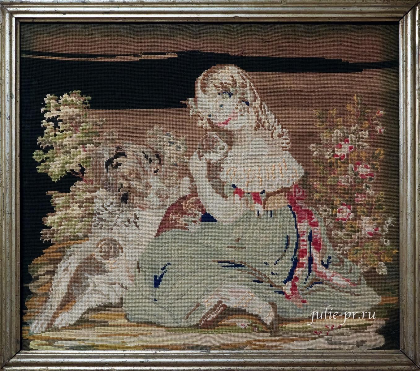 Девочка с собаками, 1850-е гг, Великобритания, вышивка крестом, выставка Старинные вышивки