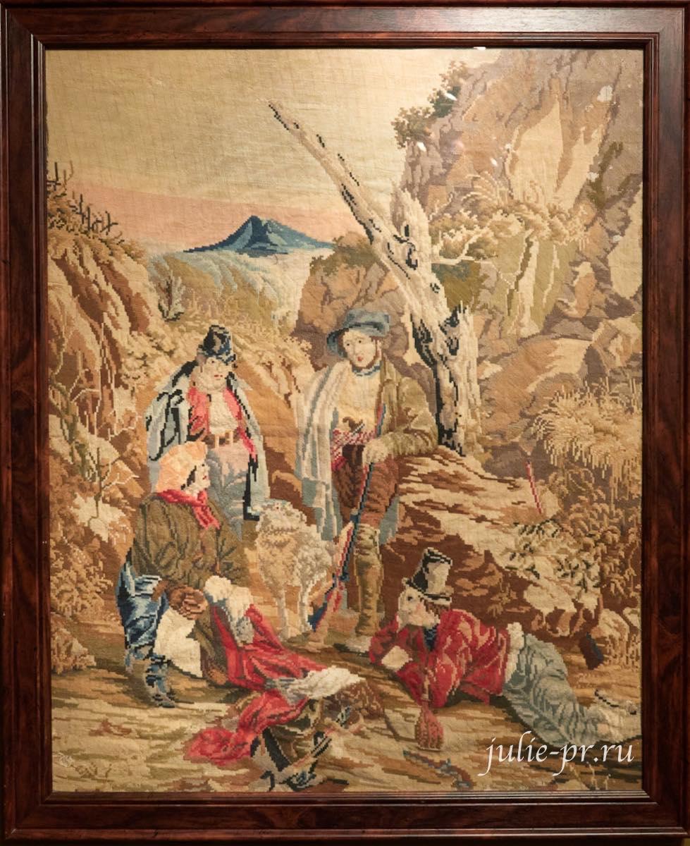 вышивка крестом, Охотники на привале, 1830-е гг, выставка Старинные вышивки