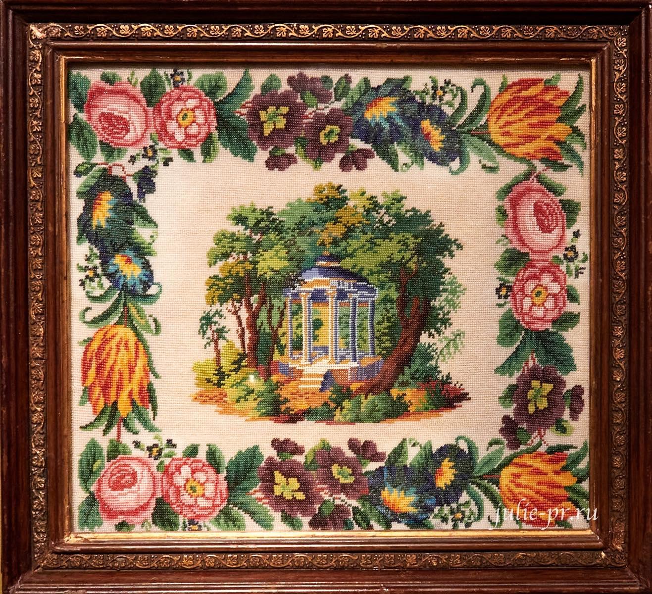 Беседка, 1-я половина XIX века, вышивка бисером, выставка Старинные вышивки