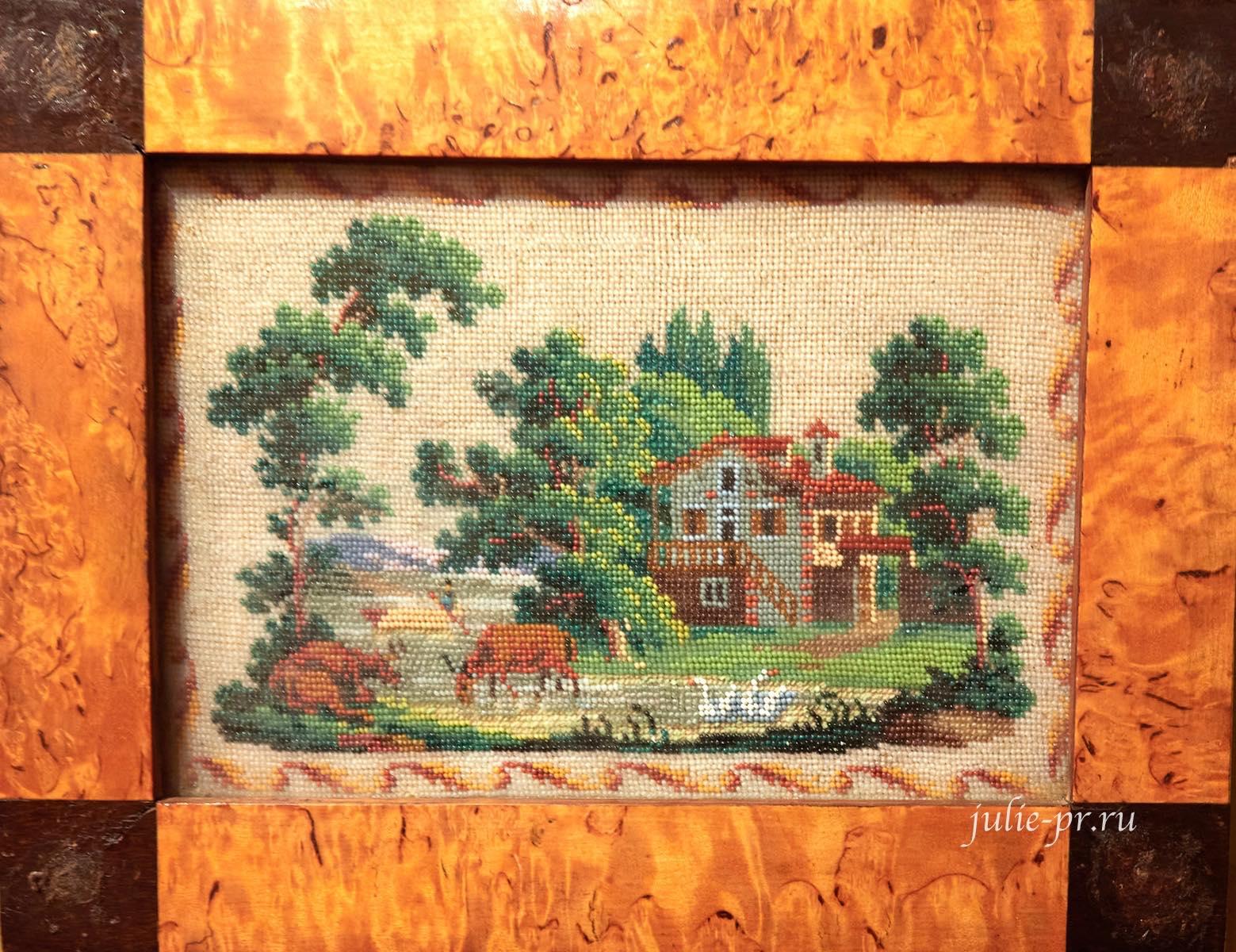 Сельский пейзаж, 1830-е гг, Россия, вышивка бисером, выставка Старинные вышивки