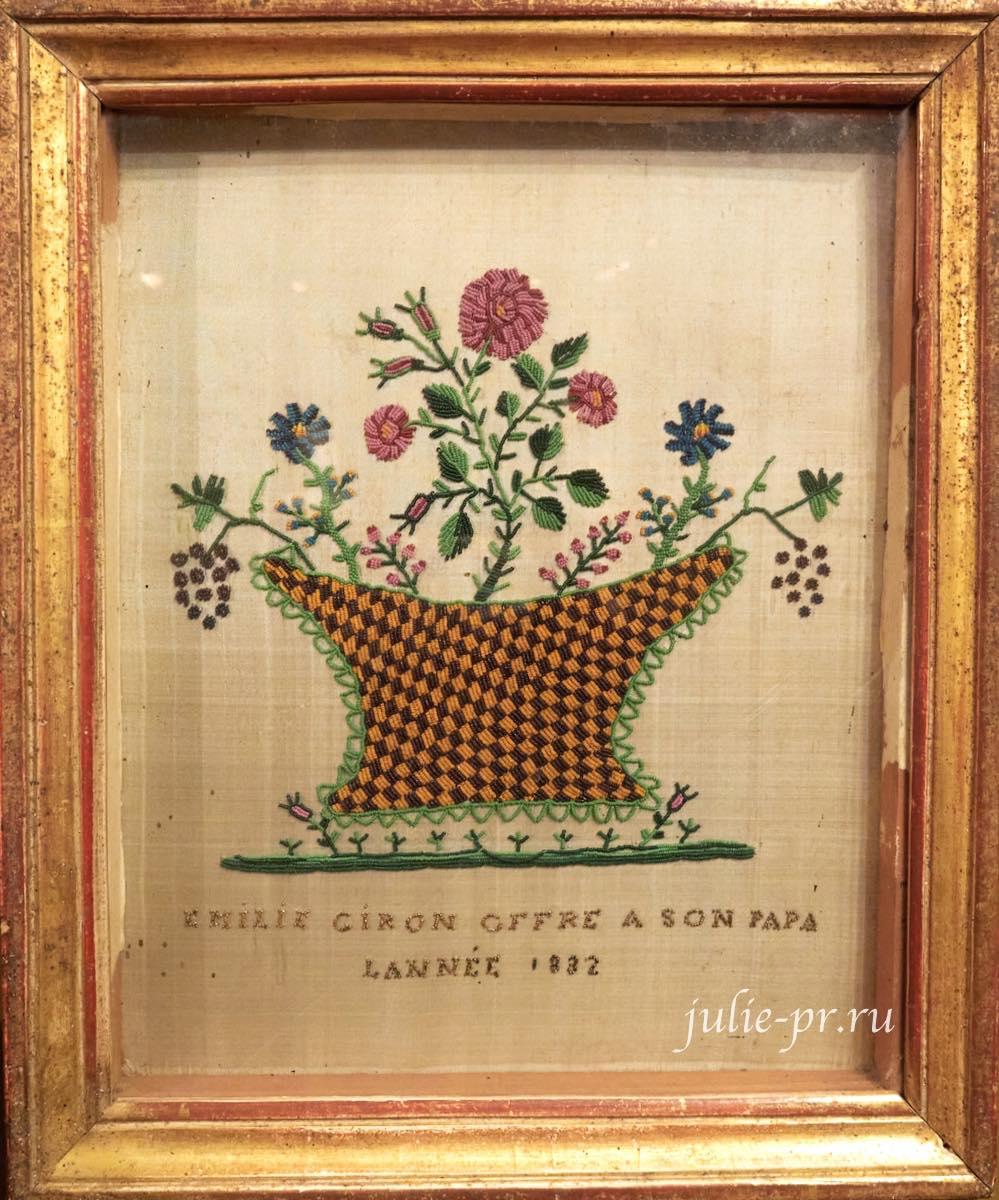 Букет в вазе, вышивка бисером, выставка Старинные вышивки