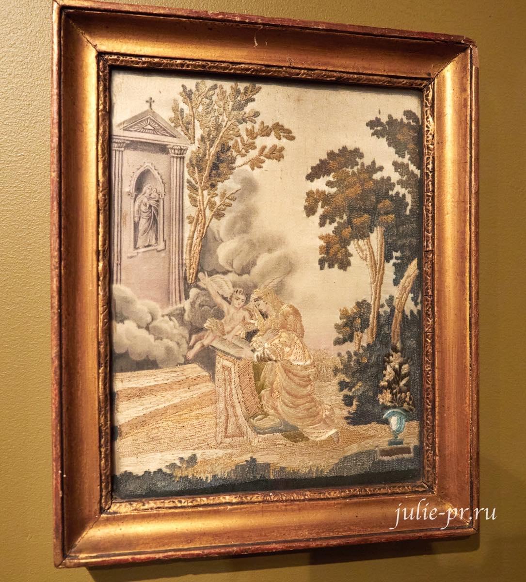 Молитва, ок. 1825 года, Франция, вышивка шёлком и синелью по шёлку, выставка Старинные вышивки