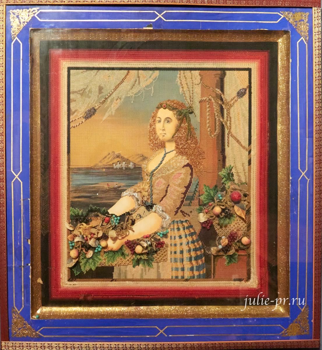 Портрет неаполитанки с корзиной цветов на фоне Везувия, 1850-е гг, Россия, вышивка крестом, выставка Старинные вышивки